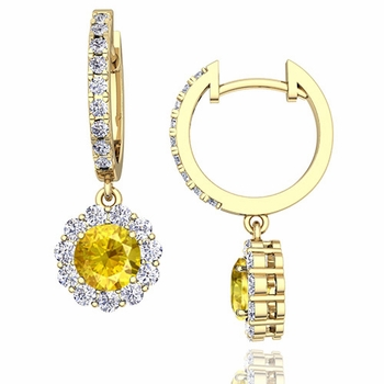 Halo Diamond and Yellow Sapphire Hoop Earrings in 18k Gold, 5mm