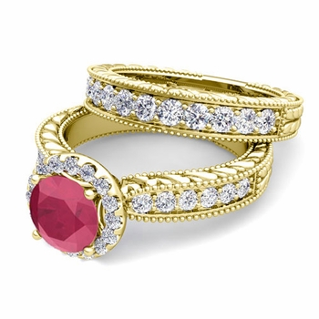 Vintage Inspired Diamond and Ruby Engagement Ring Bridal Set in 18k Gold, 5mm