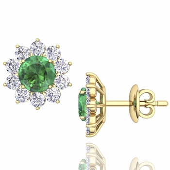 Emerald and Diamond Halo Earrings in 18k Gold Studs, 5mm