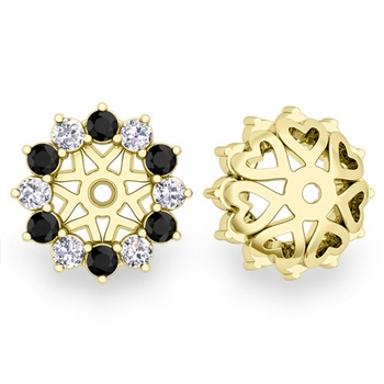 Black and White Halo Diamond Earring Jackets in 18k Gold, 5mm