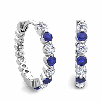 Floating Sapphire and Diamond Hoop Earrings in 14k Gold Hoops