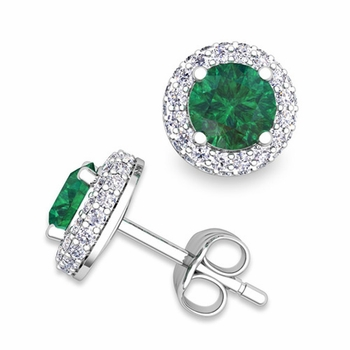Pave Diamond and Emerald Earrings in 14k Gold Studs, 5mm