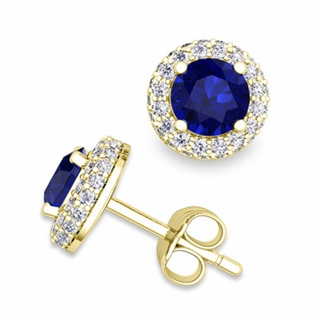 Pave Diamond and Sapphire Earrings in 18k Gold Studs, 5mm