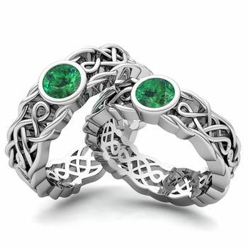 Matching Wedding Band in 14k Gold Solitaire Emerald Ring