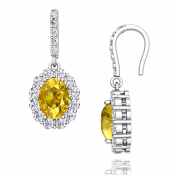Halo Diamond and Yellow Sapphire Drop Earrings in 14k Gold, 7x5mm