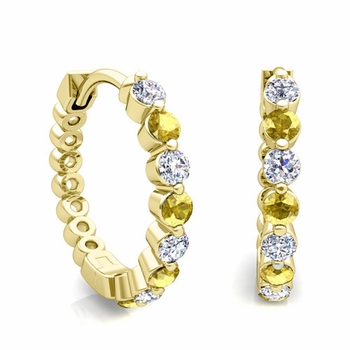 Floating Yellow Sapphire and Diamond Hoop Earrings in 18k Gold Hoops