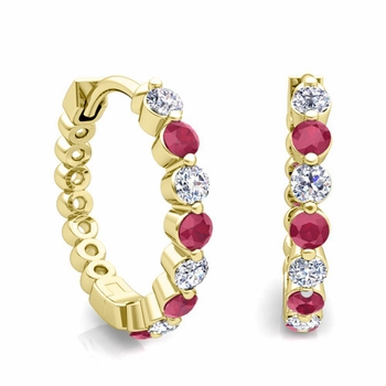 Floating Ruby and Diamond Hoop Earrings in 18k Gold Hoops