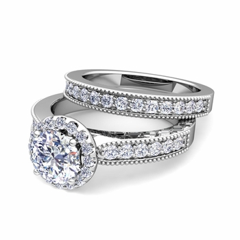 Halo Bridal Set: Milgrain Diamond Engagement Wedding Ring Set in Platinum