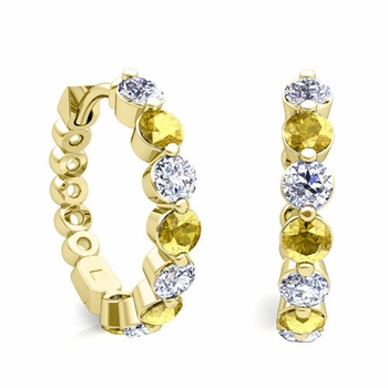 Prong Set Yellow Sapphire and Diamond Floating Hoop Earrings in 18k Gold Hoops
