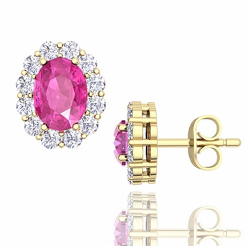 Oval Pink Sapphire and Halo Diamond Earrings in 18k Gold, 7x5mm Studs