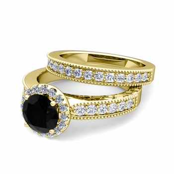 Halo Bridal Set: Milgrain Black and White Diamond Engagement Wedding Ring in 18k Gold, 7mm
