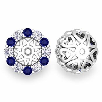 Halo Diamond and Sapphire Earring Jackets in 14k Gold, 6mm