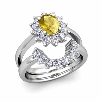 Diamond and Yellow Sapphire Diana Engagement Ring Bridal Set in 14k Gold, 9x7mm