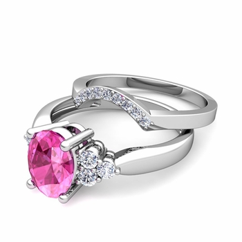 Three Stone Diamond and Pink Sapphire Engagement Ring Bridal Set in 14k Gold, 9x7mm