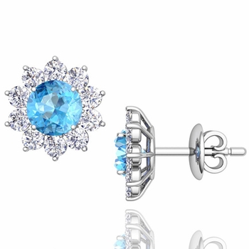 Blue Topaz and Diamond Halo Earrings in 14k Gold Studs, 5mm