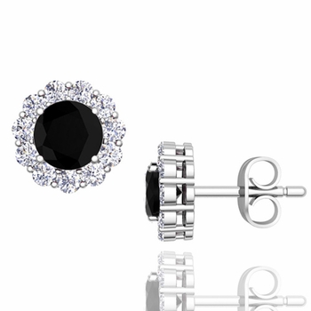 Halo Black and White Diamond Earrings in 14k Gold Studs, 5mm