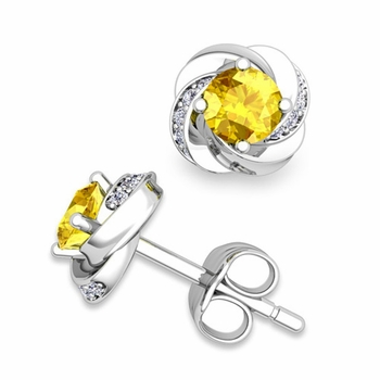 Petal Diamond and Yellow Sapphire Stud Earrings in 14k Gold, 4x4mm