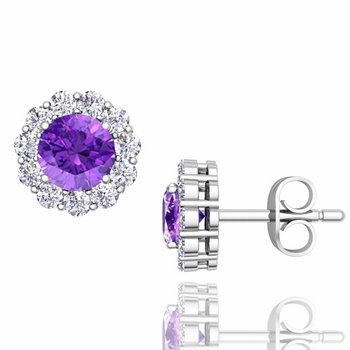 Halo Diamond and Amethyst Earrings in 14k Gold Studs, 5mm