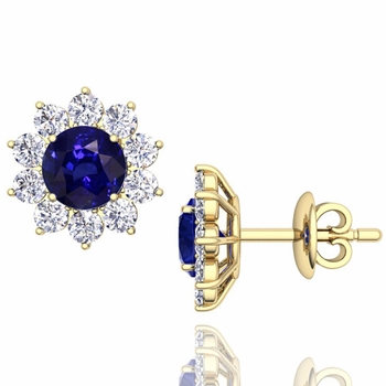 Sapphire and Diamond Halo Earrings in 18k Gold Studs, 5mm