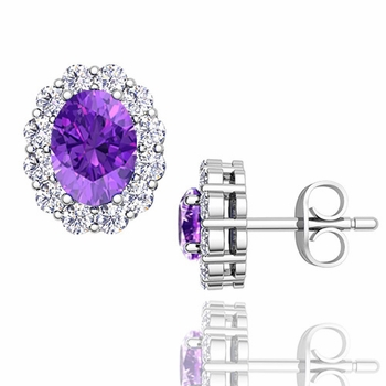 Oval Amethyst and Halo Diamond Earrings in 14k Gold, 7x5mm Studs