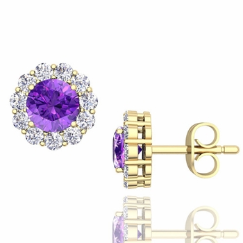 Halo Diamond and Amethyst Earrings in 18k Gold Studs, 5mm