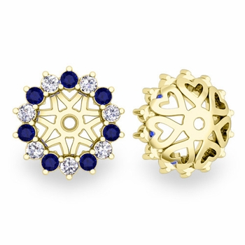 Sapphire and Halo Diamond Earring Jackets in 18k Gold, 6mm
