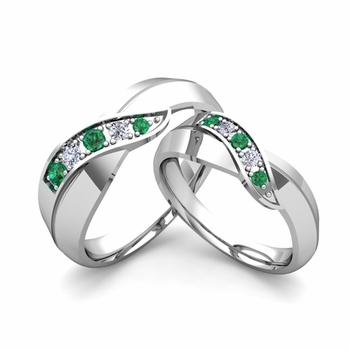 Matching Wedding Band in 14k Gold Infinity Diamond and Emerald Wedding Rings