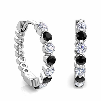 Floating Black and White Diamond Hoop Earrings in 14k Gold Hoops