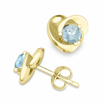 Petal Heart Aquamarine Stud Earrings in 18k Gold, 4x4mm
