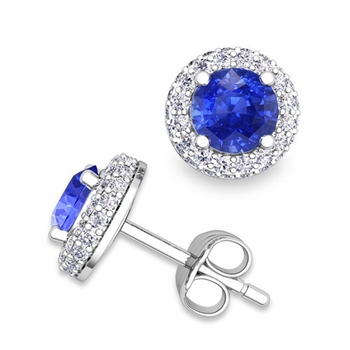 Pave Diamond and Ceylon Sapphire Earrings in 14k Gold Studs, 5mm