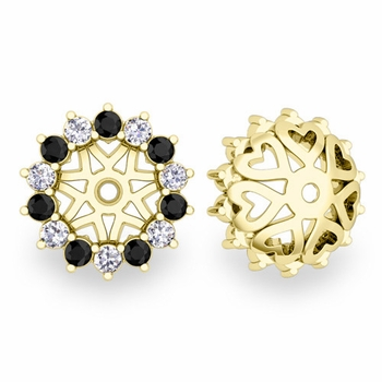 Black and White Halo Diamond Earring Jackets in 18k Gold, 6mm