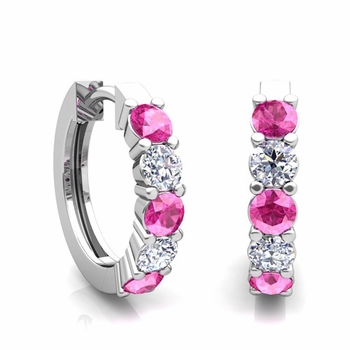 5 Stone Pink Sapphire and Diamond Hoop Earrings in 14k Gold Hoops