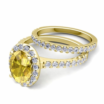 Bridal Set: Pave Diamond and Yellow Sapphire Engagement Wedding Ring in 18k Gold, 8x6mm
