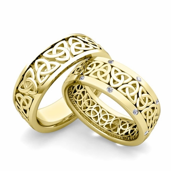 Matching Celtic Knot Wedding Band in 18k Gold Diamond Comfort Fit Ring
