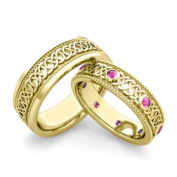 Matching Celtic Wedding Bands in 18k Gold Milgrain Pink Sapphire Ring