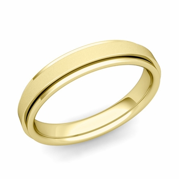 Park Avenue Wedding Band in 18k Gold Satin Finish Comfort Fit Ring, 4mm