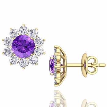 Amethyst and Diamond Halo Earrings in 18k Gold Studs, 5mm