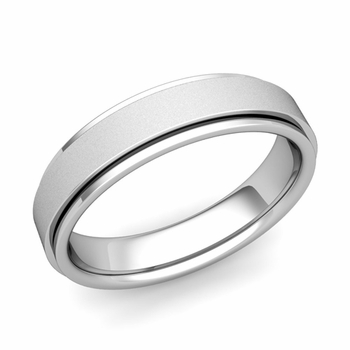 Park Avenue Wedding Band in 14k Gold Satin Finish Comfort Fit Ring, 5mm