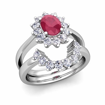 Diamond and Ruby Diana Engagement Ring Bridal Set in Platinum, 7x5mm