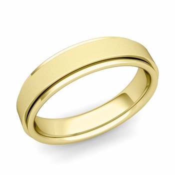 Park Avenue Wedding Band in 18k Gold Satin Finish Comfort Fit Ring, 5mm