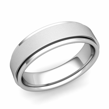 Park Avenue Wedding Band in 14k Gold Satin Finish Comfort Fit Ring, 6mm
