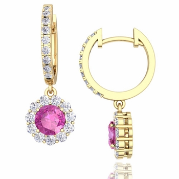 Halo Diamond and Pink Sapphire Hoop Earrings in 18k Gold, 5mm