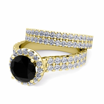 Two Row Black and White Diamond Engagement Ring Bridal Set in 18k Gold, 7mm