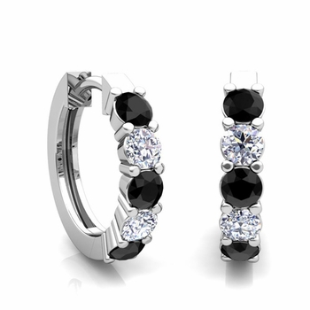 5 Stone Black and White Diamond Hoop Earrings in 14k Gold Hoops