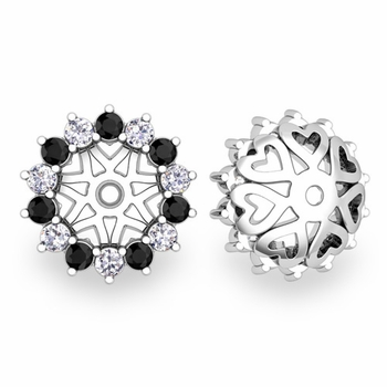 Black and White Halo Diamond Earring Jackets in 14k Gold, 6mm