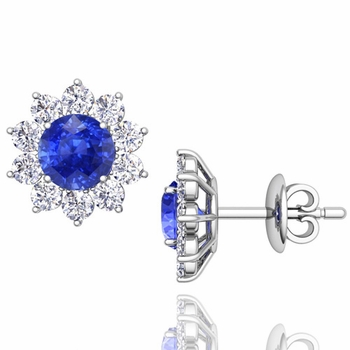 Ceylon Sapphire and Diamond Halo Earrings in 14k Gold Studs, 5mm