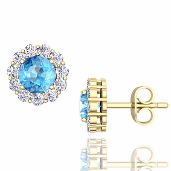 Halo Diamond and Blue Topaz Earrings in 18k Gold Studs, 5mm