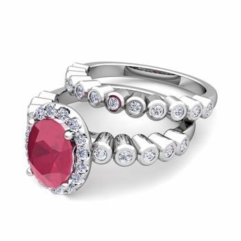 Halo Bridal Set: Bezel Diamond and Ruby Wedding Ring Set in 14k Gold, 7x5mm