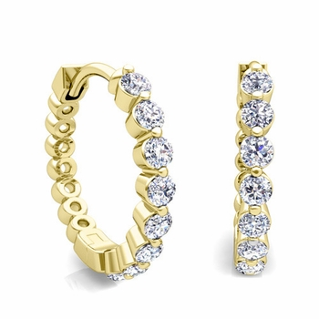 Floating Diamond Hoop Earrings in 18k Gold Hoops
