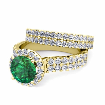 Two Row Diamond and Emerald Engagement Ring Bridal Set in 18k Gold, 7mm